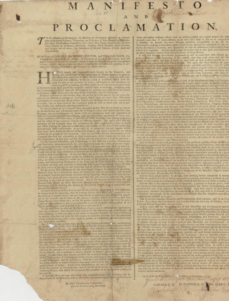 Sir Henry Clinton's 1778 Manifesto and Proclamation