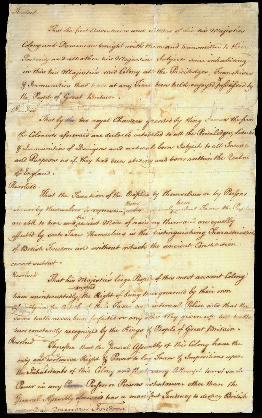 Resolutions on the Stamp Act