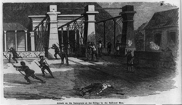 Attack on the Insurgents at the Bridge by the Railroad Men