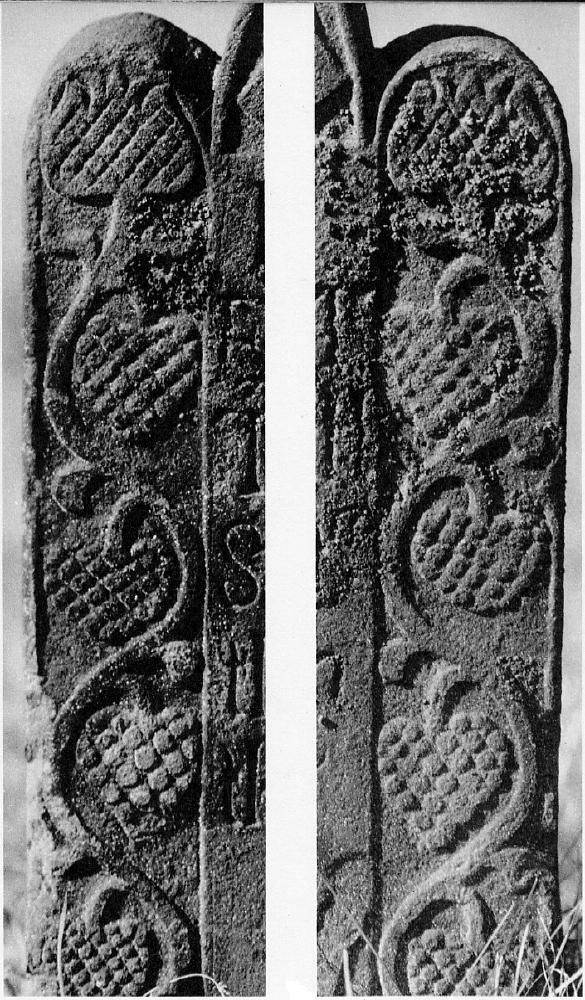 Details of the Norder Panels of the Elijah Sadd Stone, South Windsor, Connecticut. Red sandstone