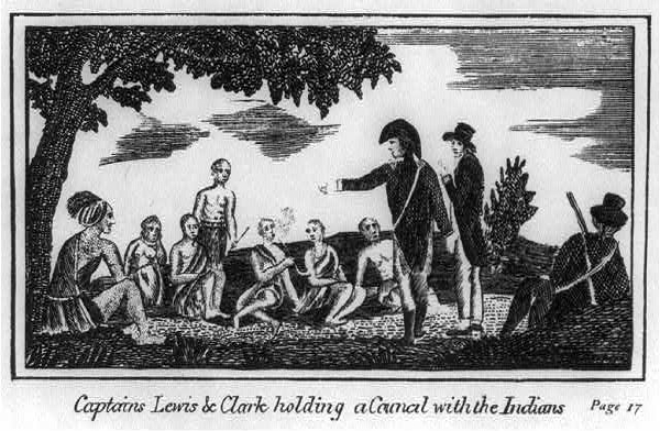 Captain Lewis & Clark Holding a Council With the Indians