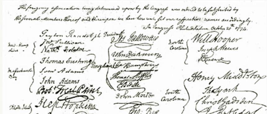 The Continental Congress' Declaration of Rights and Grievances